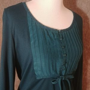 Pintuck Beaded Blouse in Teal Blue